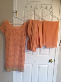 women's orange and white blouse Maple Ridge, V2X 2K8