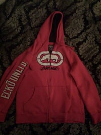 red and white Ecko Unltd zip-up hoodie