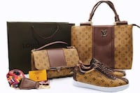 two brown Louis Vuitton tote bags and pair of sneakers