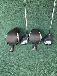Matching Pair of MasterGrip Black Steel 3 and 5 Woods, Regular Flex