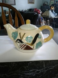 white bird print ceramic teapot