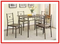 Walnut Metal Dinette 5 Piece Collection Lexington