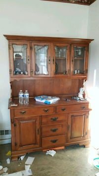 brown wooden cabinet with hutch 986 mi
