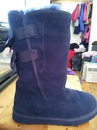 pair of blue suede Ugg boots