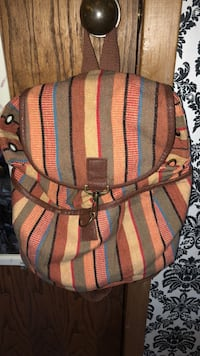 brown, red, and green stripe backpack Altoona