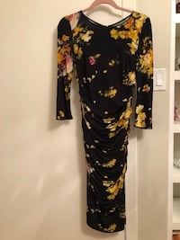 black and yellow floral long-sleeved dress 568 km