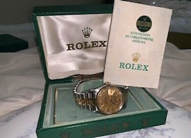 Rolex Champagne linen 18K Yellow Gold and Stainless Steel Datejust Vintage 16013