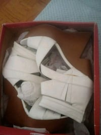 white and brown leather wedge sandals in box Greenbelt, 20770