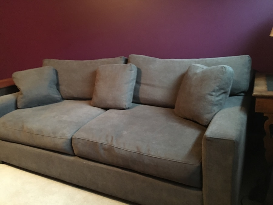 Down Throw Pillows Sofa : Used Grey microfiber fabric 9' sofa with throw pillows in Redmond