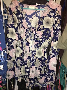 purple pink and white floral long sleeve shirt