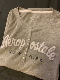 Aeropostale Women's Gray Fitted Shirt
