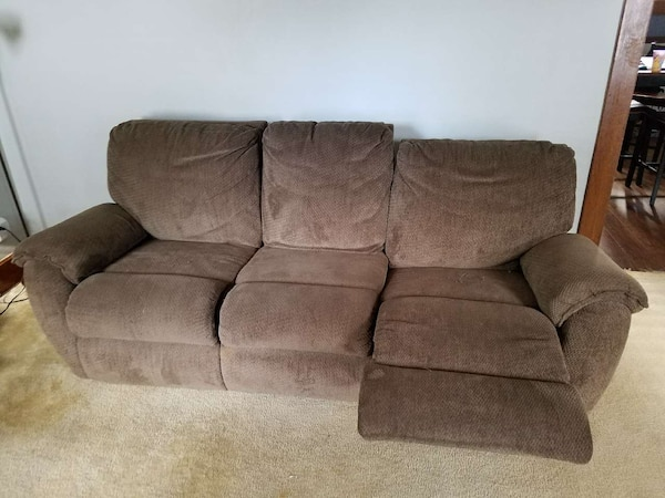 Used Brown Fabric Three Seat Recliner Sofa For Sale In