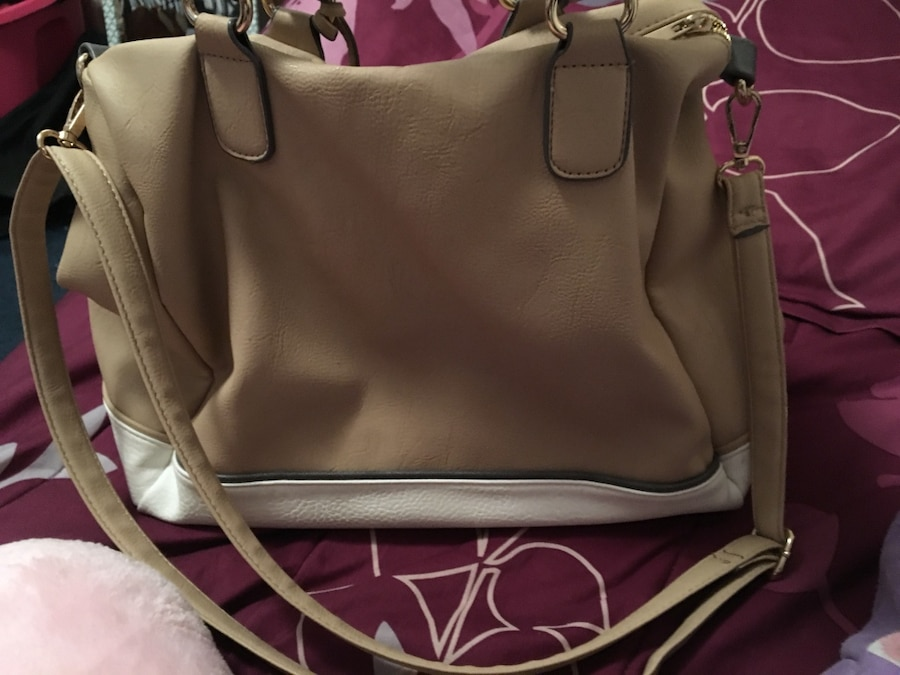 beige and white leather handbag, a little bit dirty but can be easily cleaned  - Portway Acres