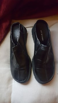 pair of black Liz Baker leather loafers