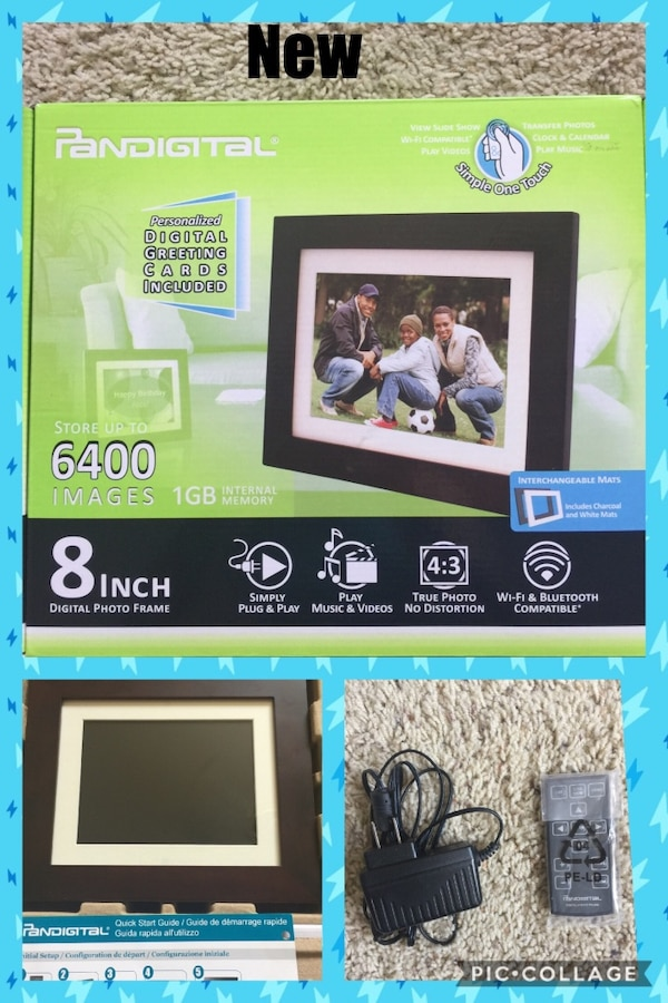 Used Pandigital Pi8056w01b 8 Inch Lcd Digital Photo Frame Espresso