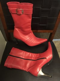 Pair of red leather boots 8.5 Calgary, T2N 4K3