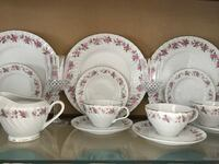 white and pink floral ceramic dinnerware set