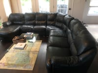 All leather black sectional couch Haymarket, 20169