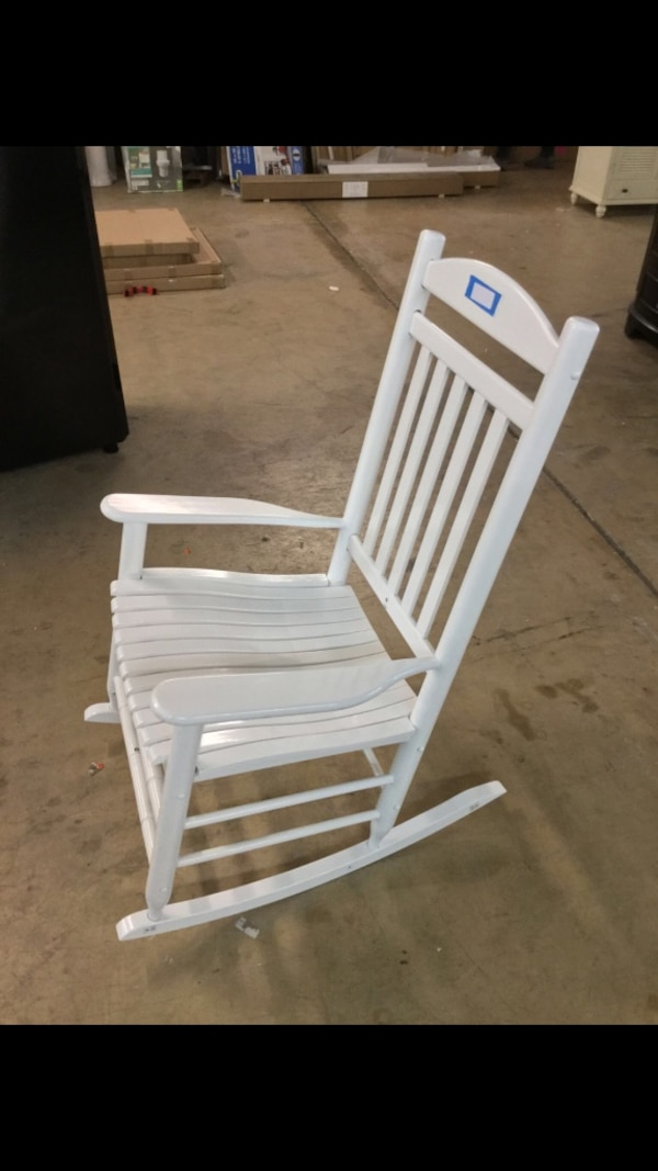 Wondrous Hampton Bay Glossy White Wood Outdoor Rocking Chair 79 Pdpeps Interior Chair Design Pdpepsorg