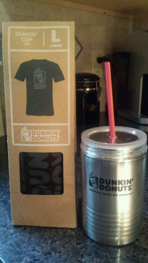 f7648226401 Used New Dunkin Donut shirt and stainless to go tumbler for sale in  Belvidere - letgo