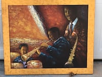 painting of three men musicians with brown wooden frame