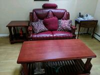 Beautiful Red Leather Loveseat, End Table & Coffee Te Langley City, V3A