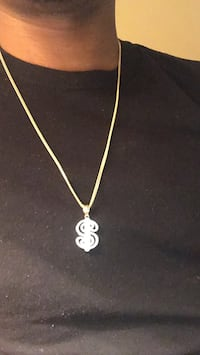 Gold Franco chain link with gold dollar sign pendant with diamonds Mississauga, L5G