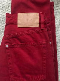 Red high waisted denim (women's) Irvine, 92603