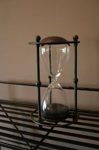 Black Wrought Iron and Glass Hour Glass Ashburn