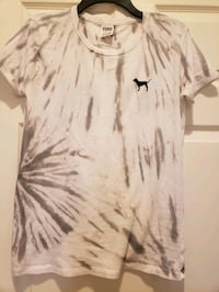 PINK Small Tie Dyed Gray T-Shirt