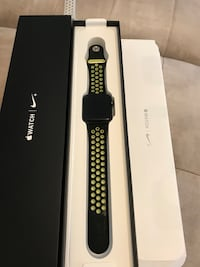 black Apple Watch with black and yellow Nike sport band and box Montgomery Village, 20886