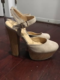 Pair of nude suede ankle strap heels Burnaby, V5H 0E8