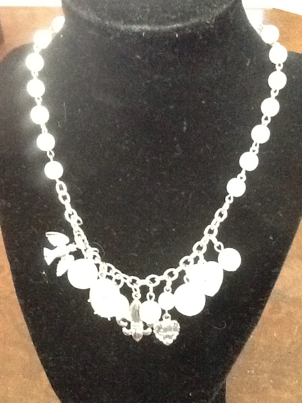 Silver with Pearl Beads and Charms necklace jewelry a158fe24-ba1b-4418-8629-6a166818499b