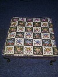 Pattern foot stool with metal legs