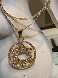 Gold Plated Star Of David Pendant With Chain Necklace
