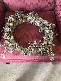 Grapevine pinecone jeweled wreath with light pink accessories