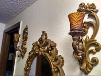 Antique mirror and sconces