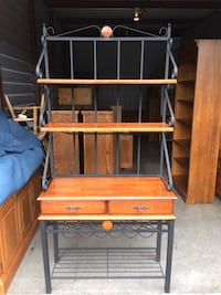 Coaster brand Solid Wood and Black Iron Bakers Rack  Lakeville, 55044