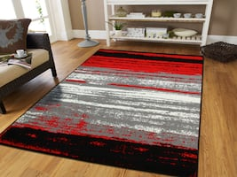 New Modern red rug Abstract print rugs 5x8