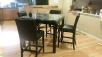 rectangular brown wooden table with four chairs dining set Liberty, 12754