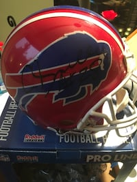 Autographed Buffalo Bills Red and blue riddell football helmet.  Columbia, 21045