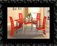 Glass red dining table with leather chairs Laurel, 20707