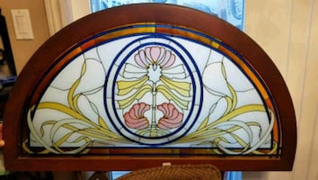VINTAGE ARCH STAINED GLASS WINDOW