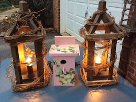 Two Amish Built Bird house style decorative lights lanterns and Beauti