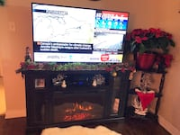Mint condition brown fireplace tv stand