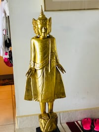 """Vtg Oriental Gold Statue. Some type wood and golden highlightes 45"""" ht Hollywood, 33020"""