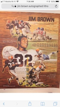 Jim brown cleveland Browns lithograph numbered and signed by Jim brown and the artist