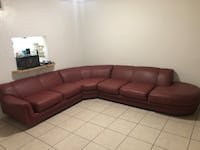 Dark red leather sectional couch Hollywood, 33020