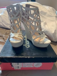 pair of gray open toe ankle strap heels Pearl City, 96782