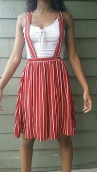 women's red and white stripe sleeveless overall  Houston, 77035